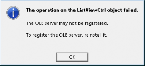The operation on the ListViewCtrl object failed.  The OLE server may not be registered.  To register the OLE server, reinstall it.